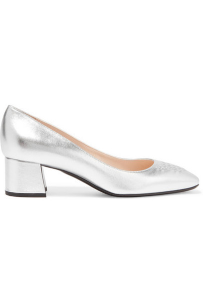 Bottega Veneta metallic pumps silver leather shoes