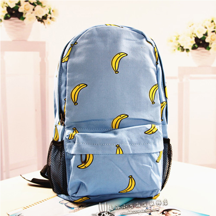 [grhmf22000122]Sweet Cute Banana Print Canvas Backpack / thevintagestudio