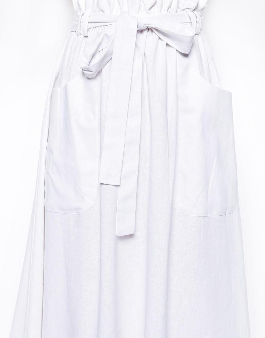 Linen Midi Skirt with Pocket Detail at asos.com