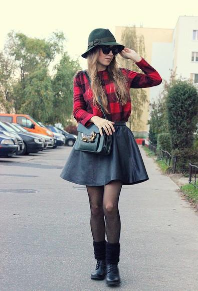 skirt black skater skirt skater skirt flannel tights preppy back to school