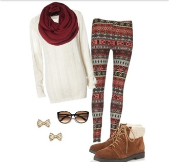 sweater leggings sweater leggings snowflake scarf red scarf white sweater fall outfits winter outfits pants