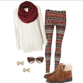 scarf sweater leggings winter fall sweater leggings snowflake white sweater autumn pants scarf red