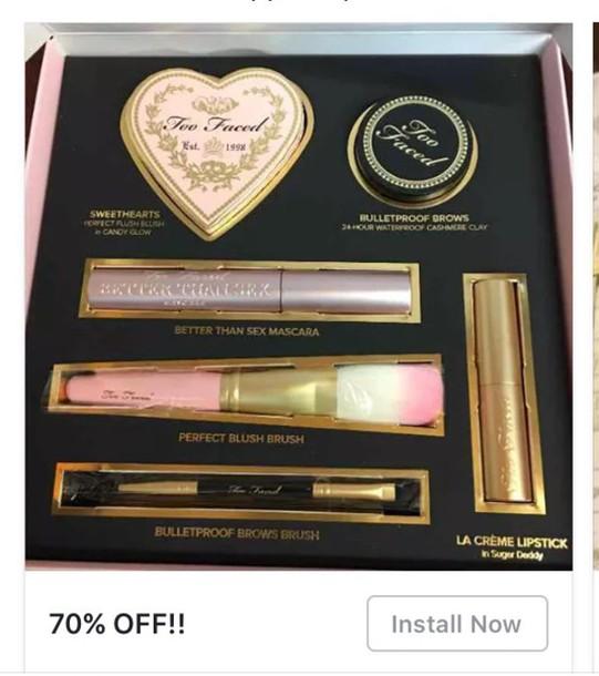make-up too faced face makeup mascara blush lipstick