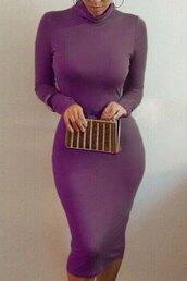 dress,purple,sexy,midi dress,long sleeves,trendy,fashion,style,zaful