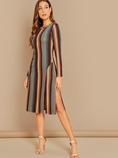 Striped Long Sleeve Knit Dress