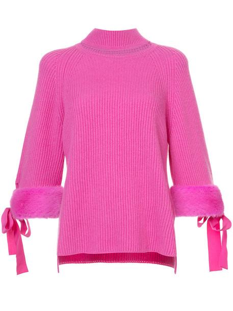 Fendi fur faux fur high women high neck cotton purple pink jewels