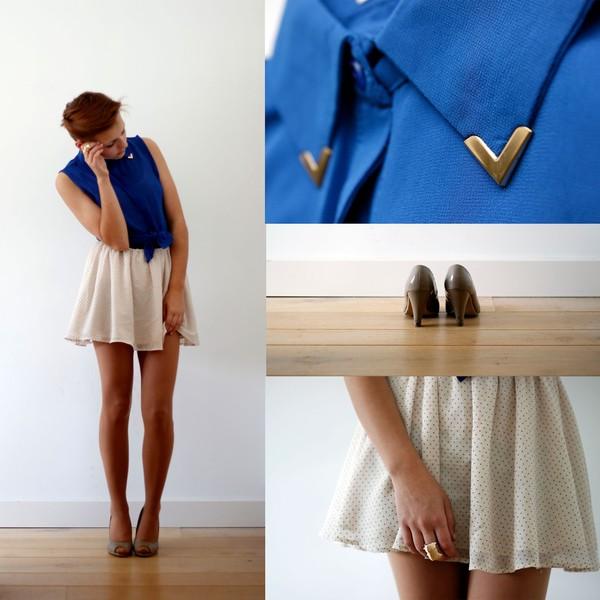 skirt polka dots blouse