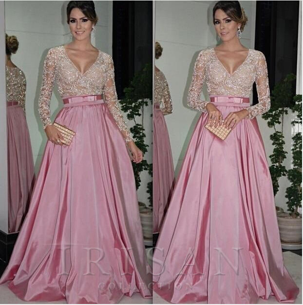 Lace Bead Applique Long Sleeve Formal Party Ball Gown Evening Prom Wedding Dress