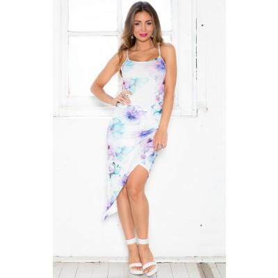 La ruched dress in blue floral