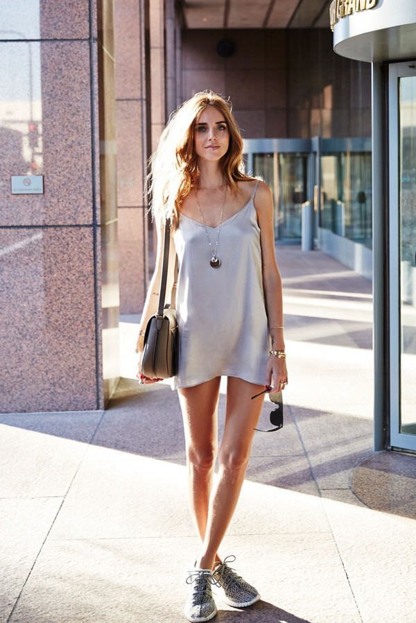 dress white slip dress grey sneakers blogger silver necklace