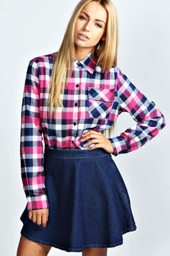 Kelly Check Oversized Shirt at boohoo.com