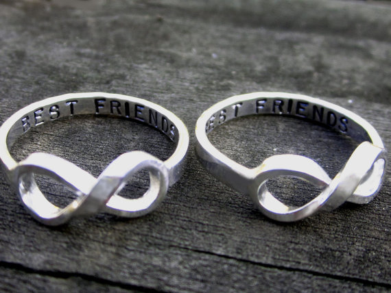 Hand stamped best friends infinity ring set by par donnaodesigns