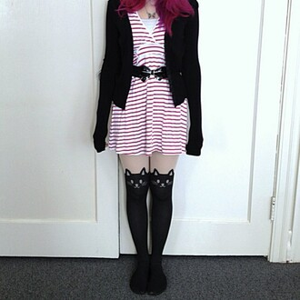 leggings cat stockings bow belt striped dress