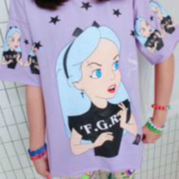 alice in wonderland disney blouse pastel goth harajuku kawaii t-shirt shirt