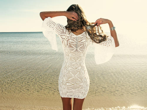emmaoclothing - Handmade crochet loose sleeve dress WHITE