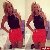 skirt,coral,shirt