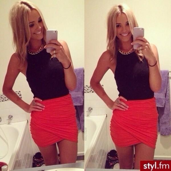 skirt coral shirt
