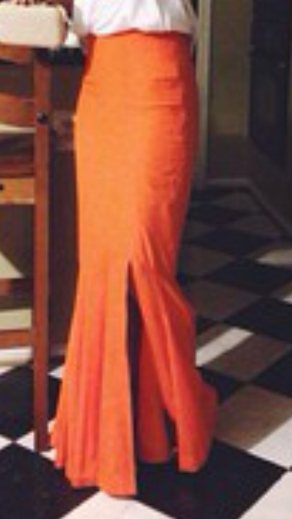 Skirt: orange skirt, high waist skirt, tight, fitted skirt, slit ...