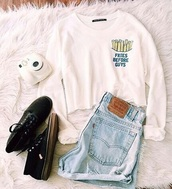 sweater,sweater weather,white,quote on it,indie,indie boho,hippie,hippie chic,chic,shorts,High waisted shorts,denim shorts,denim,blue,light blue,black,black shoes,black sneakers,cute,classy,outfit,outfit idea,tumblr outfit,summer outfits,fall outfits,winter outfits,cute outfits,spring outfits,summer,winter sweater,fall sweater,spring,tumblr,tumblr girl,tumblr clothes,tumblr shirt,tumblr shorts,tumblr sweater,instagram,ootd,printed sweater,hipster