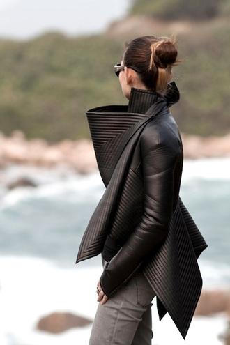 jacket modern padded leather jacket leather details black black jacket