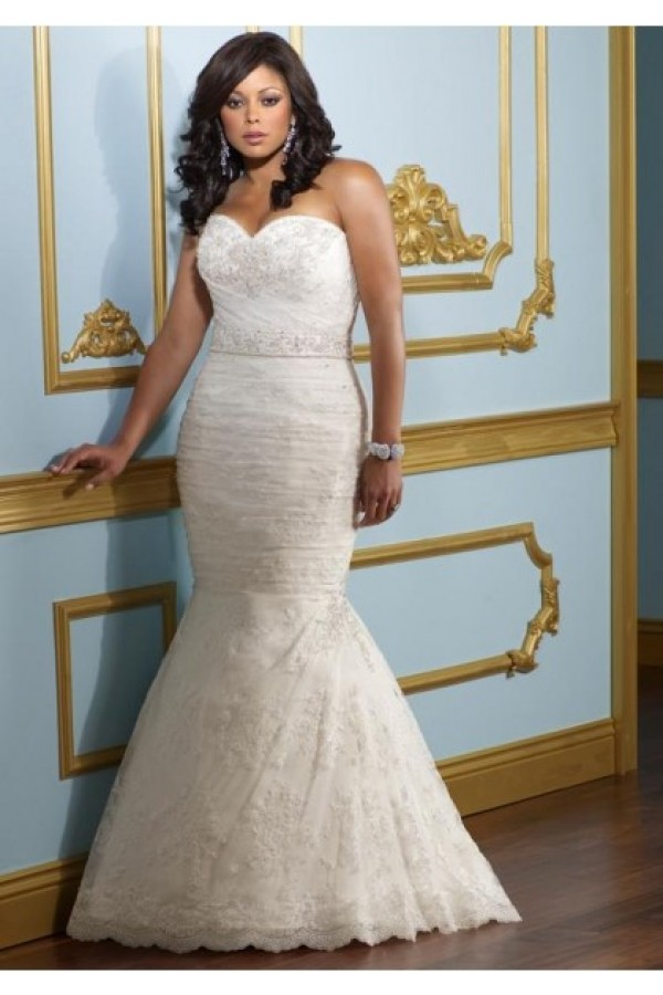 Sweetheart Court Train Lace Trumpet Beading Mermaid Plus Size Wedding Dress