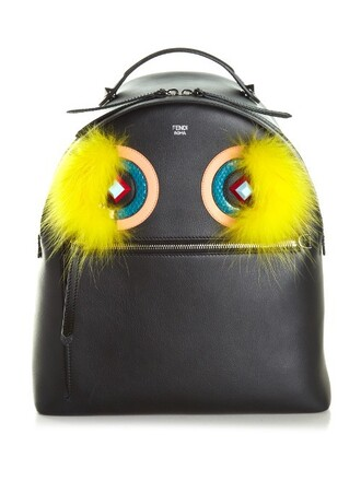 fur backpack leather black bag