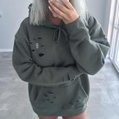 sweater,grey,holey sweater,oversized,drawstring,sweatshirt,grey hoodie
