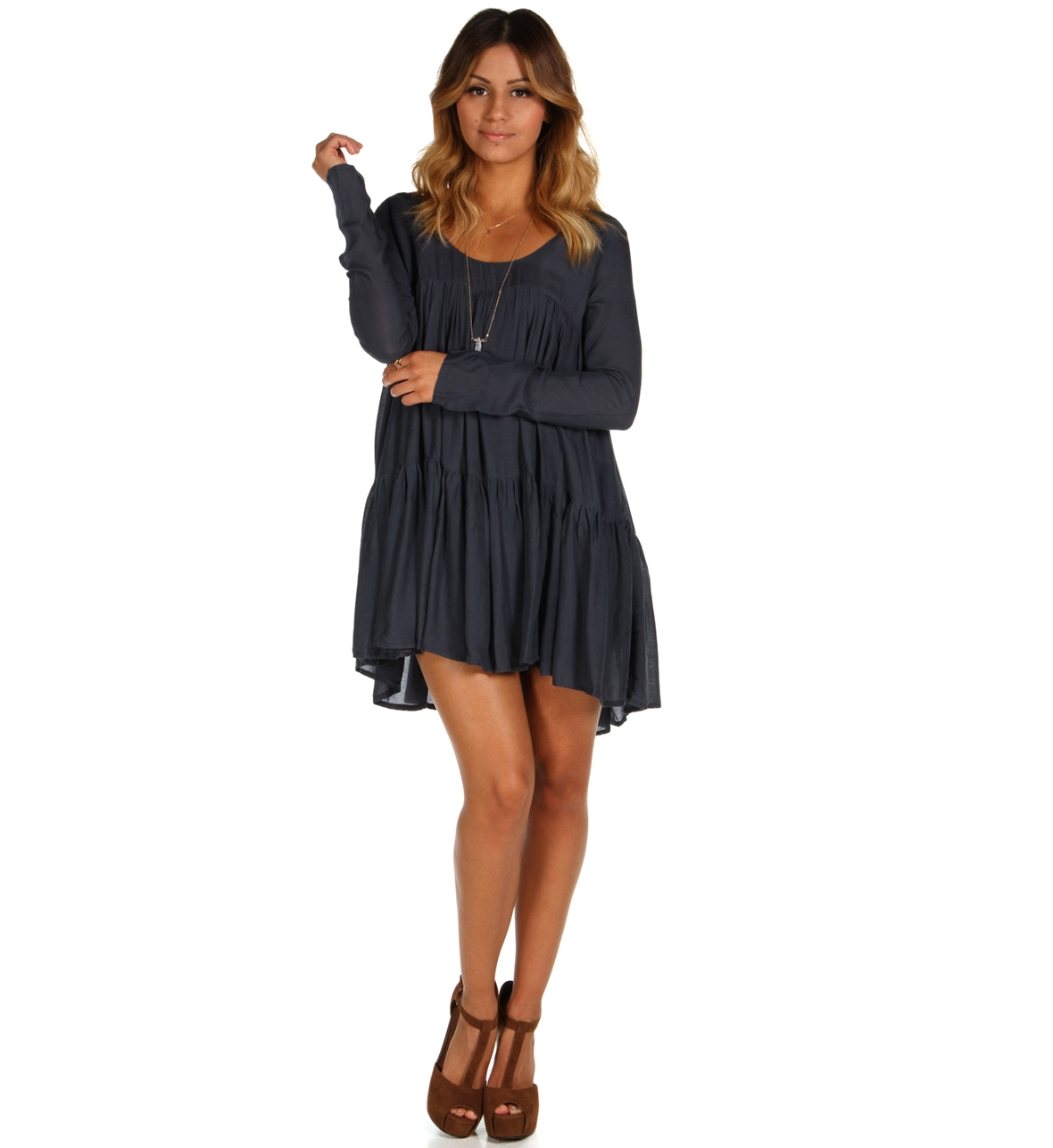 Charcoal Ruffle Swing Tunic