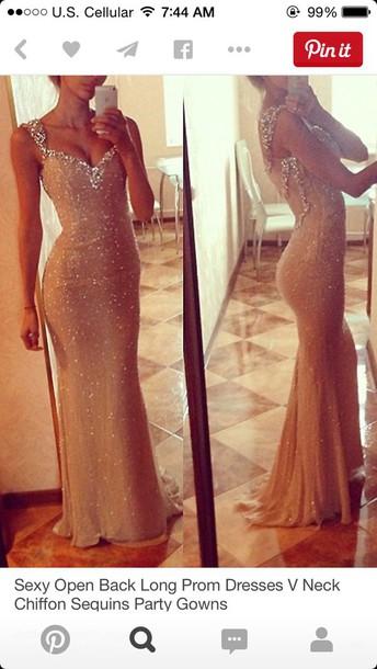 dress sequin dress sparkly dress flesh colour prom dress