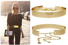 Women Full Metal Mirror Waist Belt Metallic Gold Plate Wide OBI Band with Chains   eBay