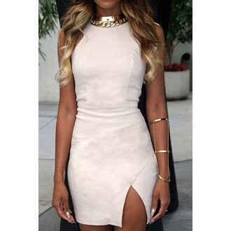 bodycon dress suede nude dress statement necklace bracelets suede dress party dress sexy dress slit dress cuff bracelet gold choker gold jewelry gold necklace mini dress dress jewels