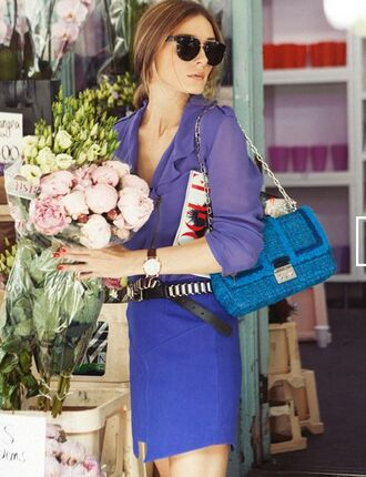 skirt all blue all blue outfit blue skirt mini skirt belt black belt shirt blue shirt watch daniel wellington flowers bag blue bag olivia palermo celebrity style celebrity sunglasses black sunglasses