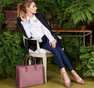 shoes flats ballet flats olivia palermo blogger shirt blouse purse
