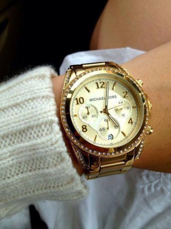 jewels watch gold watch gold jewelry michael kors cardigan michael kors watch rhinestones