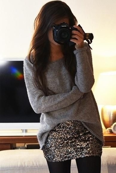 skirt sweater silver sequins shiny skirt slouchy sweater winter fashion style love life girl wear clothes glitter simple cute pretty oversized sweater bag gold sequins sparkly gray t-shirts shirt gray oversized sweater sequin skirt oversized grey knit gold, sequin, mini skirt