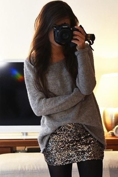 skirt shiny skirt slouchy sweater winter fashion style love life girl wear sweater clothes glitter simple cute pretty bag gold sequins oversized sweater gray t-shirts sparkly