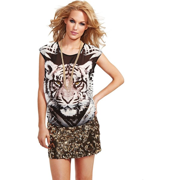 GUESS by Marciano White Tiger Chiffon Tee - Polyvore