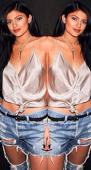 silk blouse kylie jenner style droopy