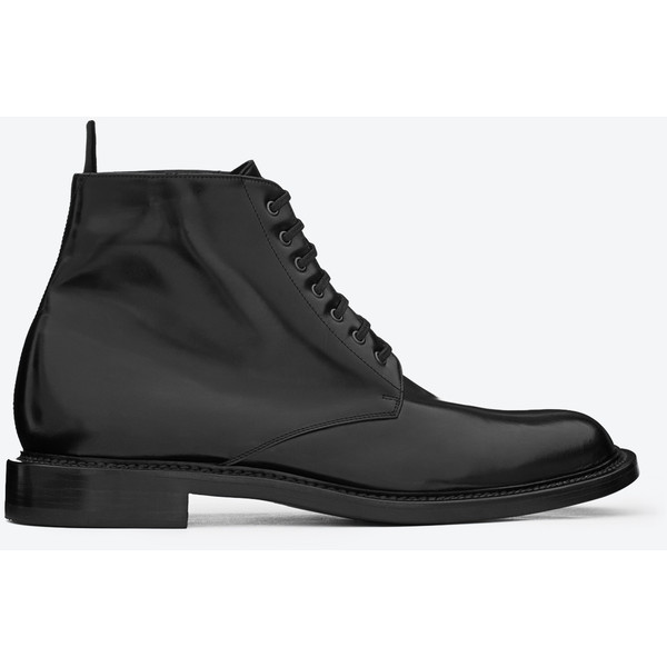 Saint Laurent Signature Lace Up Boot In Black Leather - Yves... - Polyvore