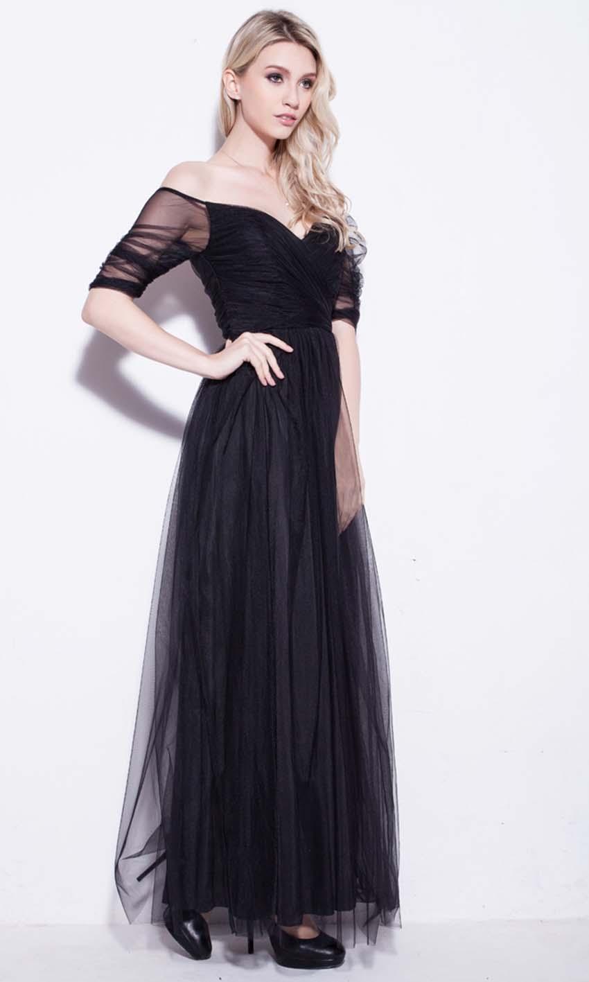 Black Net Off Shoulder Long Prom Dresses UK KSP250 [KSP250] - £92.00 ...