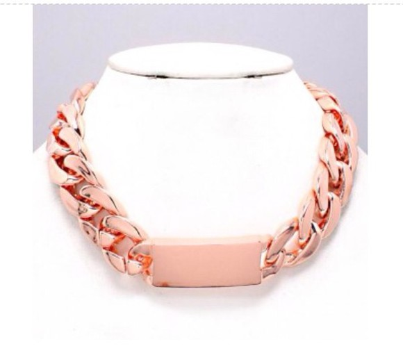 jewels rose gold pink necklace statement necklace chunky id necklace id chain necklace id necklace