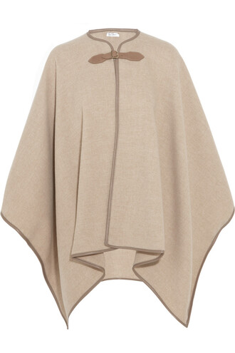 cape leather wool beige top