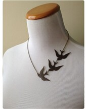 jewels,divergent,birds,black,necklace