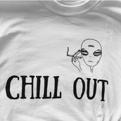 t-shirt,alien,rad,grunge t-shirt,white t-shirt,chill out,chill,smoking,cool shirts,hippie,shirt