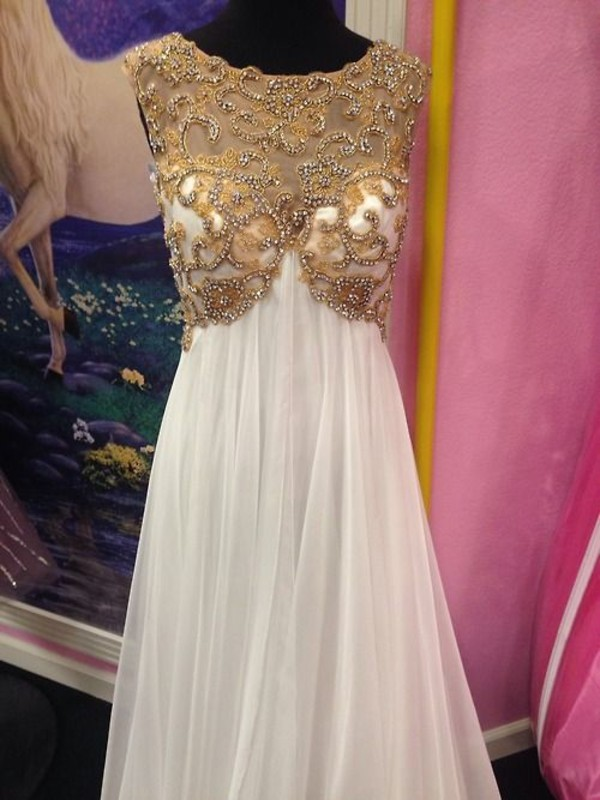 Dress: white, prom, gold, prom dress, white and gold, gown, girl ...