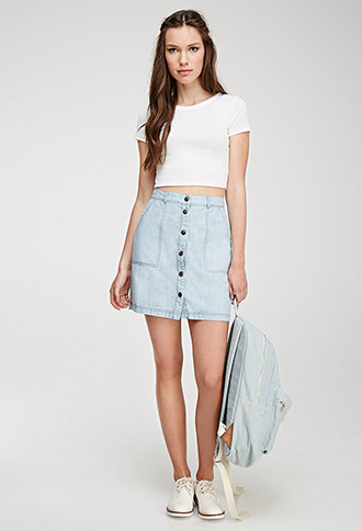 Front Denim Skirt | Forever 21 Canada
