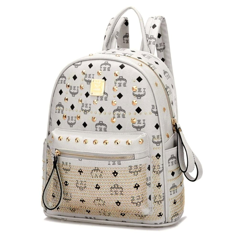 [grxjy5204236]retro rivets backpack school bag