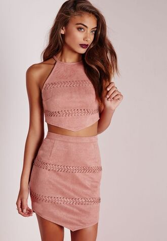 skirt pink skirt pink suede skirt suede skirt mini skirt top pink top crop tops all pink outfit