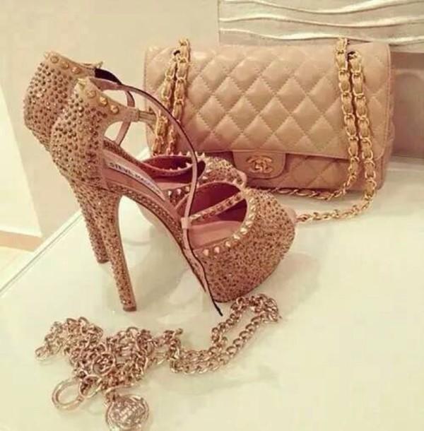 shoes nude heels bag shoulder bag