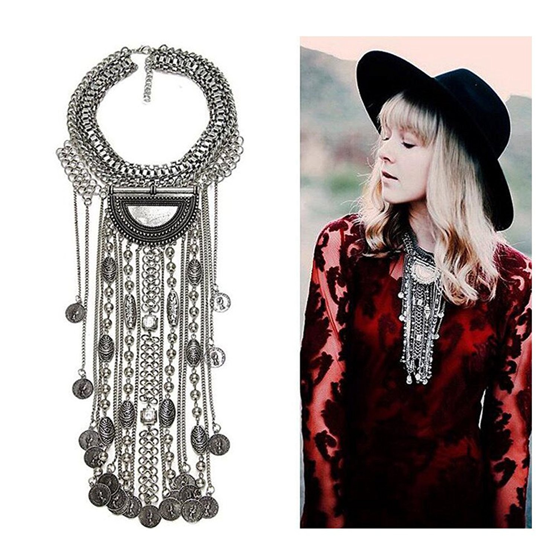 Amazon.com: KissYan Fashion Vintage Silver Gold Tone Tribal Bohemian Statement Necklace, Beads Coin Fringe Statement Necklace (Silver-Tone): Clothing